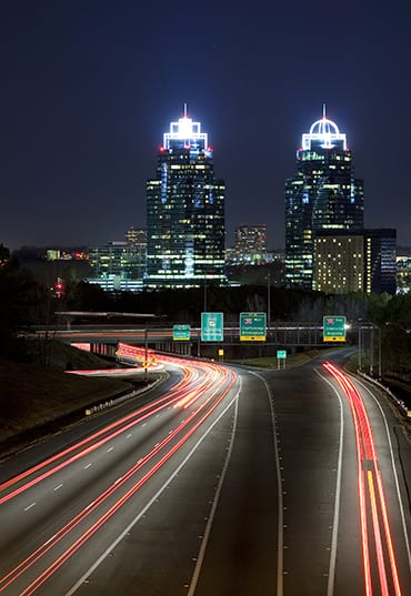 A nighttime view of Atlanta's iconic